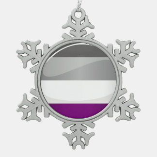 Round Glossy Asexual Pride Flag Snowflake Pewter Christmas Ornament