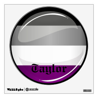 Round Glossy Asexual Pride Flag Wall Sticker