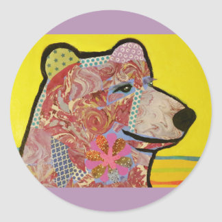 Round Glossy Sticker with Grizzly Bear