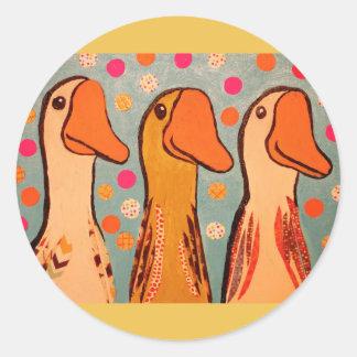 Round Glossy Sticker with Three Ducks