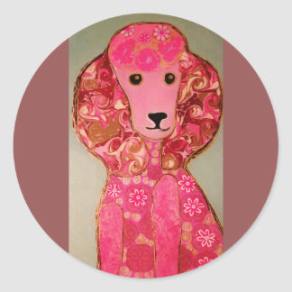 Round, Glossy Stickers with Pink Poodle Dog