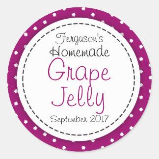 Round Grape jelly / jam purple jar food label