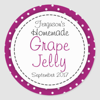 Round Grape jelly / jam purple jar food label Classic Round Sticker