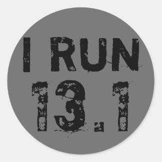 Round Gray I Run 13.1 Sticker