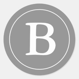 Round Gray & White Envelope Seals with Monogram Classic Round Sticker