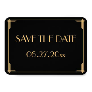 Round Great Gatsby Art Deco Wedding Save The Dates Card