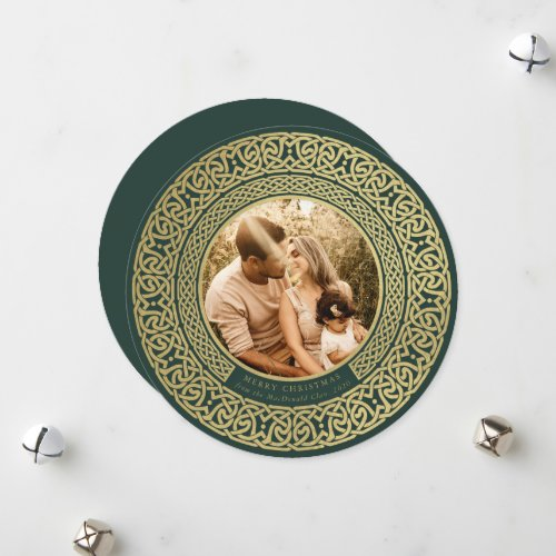 Round Green+Faux Gold Celtic Holiday Photo Card