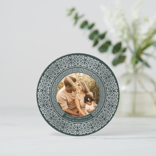 Round Green+Faux Silver Celtic Holiday Photo Card
