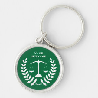 Round Green Law Scales of Justice Personalized Keychain