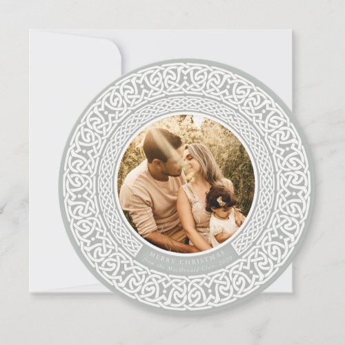 Round Green + Off White Celtic Holiday Photo Card