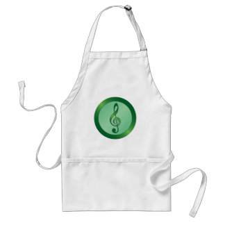 Round Green Treble Clef Adult Apron