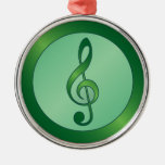 Round Green Treble Clef Christmas Tree Ornament