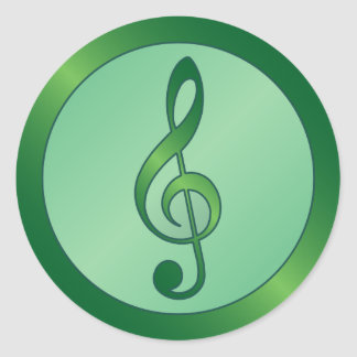 Round Green Treble Clef Classic Round Sticker