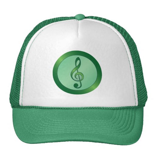 Round Green Treble Clef Mesh Hats