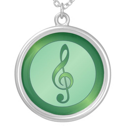 Round Green Treble Clef Personalized Necklace