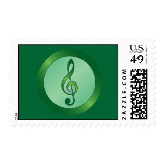 Round Green Treble Clef Stamps