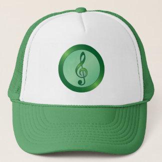 Round Green Treble Clef Trucker Hat