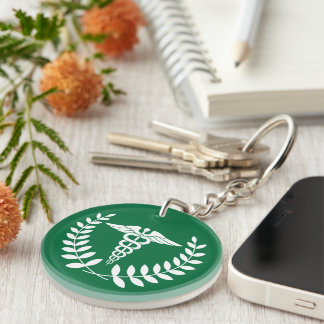 Round Green & White Medical Caduceus Personalized Keychain