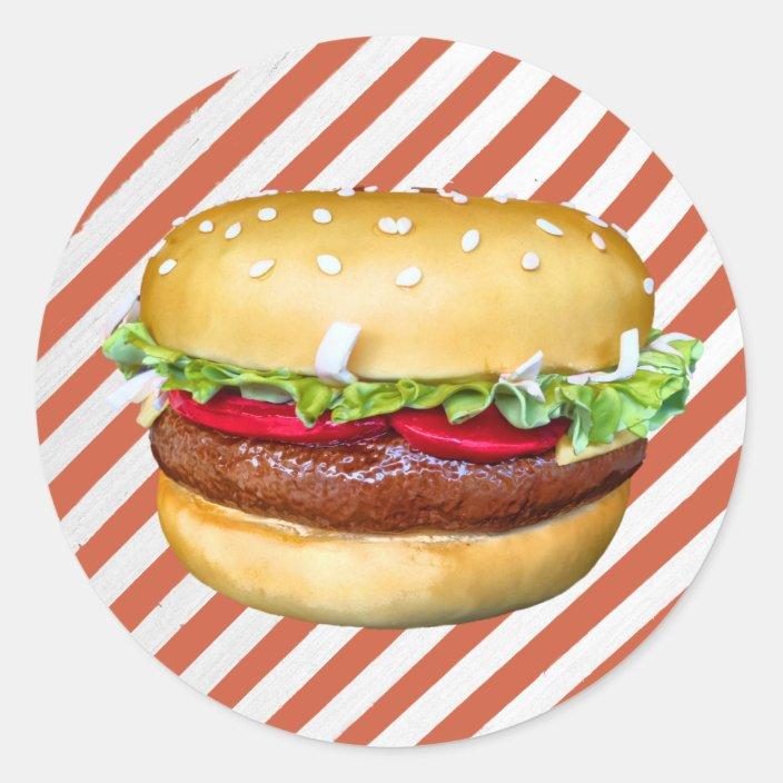 Strange Round Hamburger Cake Classic Round Sticker Zazzle Com Funny Birthday Cards Online Inifodamsfinfo