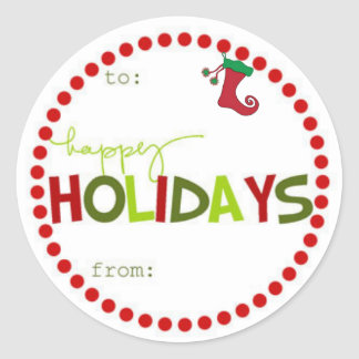 Round Happy Holiday Gift Stickers