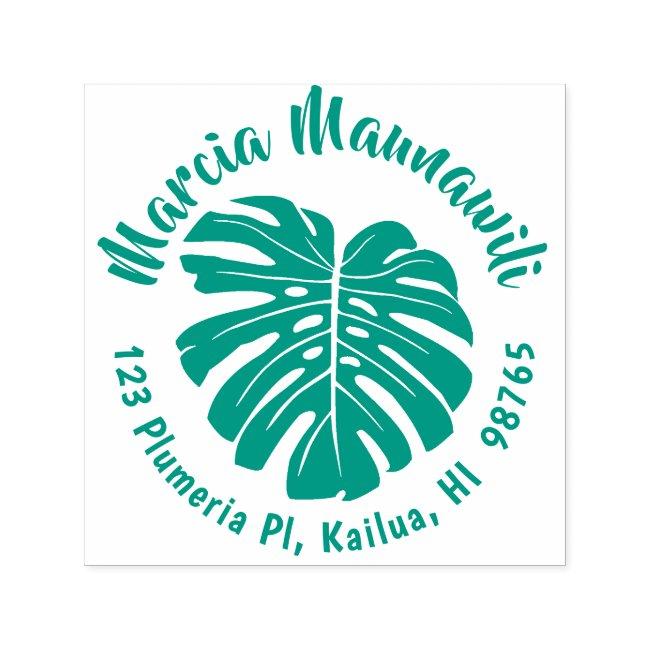 Round Hawaiian Address Stamp Monstera Self Inking