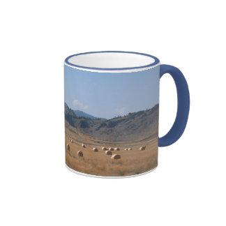 ROUND HAY BALES by SHARON SHARPE Ringer Coffee Mug