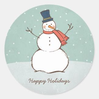Round Holiday Sticker   Winter Snowman