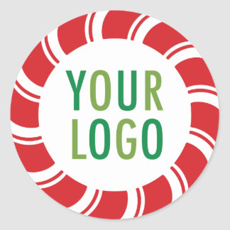Round Holiday Sticker with Company Logo Candy Cane