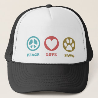 Round Icons Peace Love Paws Hat
