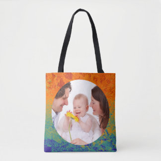 Round in Square Frame splatter 4 + your photo Tote Bag