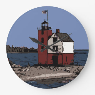 ROUND ISLAND LIGHT LARGE CLOCK