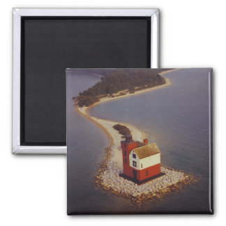 Round Island Lighthouse 2 Inch Square Magnet