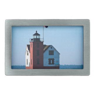 Round Island Lighthouse Rectangular Belt Buckle