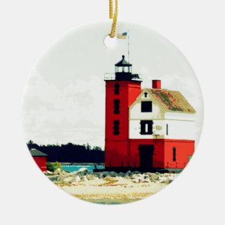 Round Island Lighthouse Ceramic Ornament