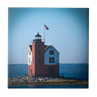 Round Island Lighthouse Ceramic Tile