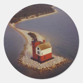 Round Island Lighthouse Classic Round Sticker