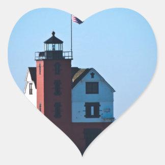 Round Island Lighthouse Heart Sticker