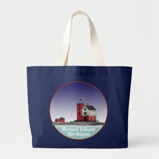 Round Island Lighthouse Large Tote Bag
