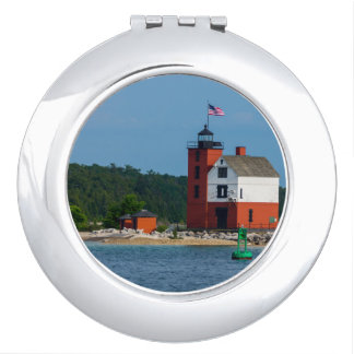 Round Island Lighthouse Makeup Mirror