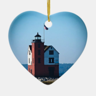Round Island Lighthouse Double-Sided Heart Ceramic Christmas Ornament
