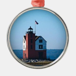 Round Island Lighthouse Round Metal Christmas Ornament