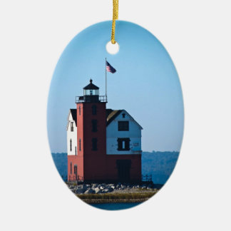 Round Island Lighthouse Double-Sided Oval Ceramic Christmas Ornament