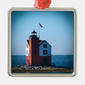 Round Island Lighthouse Square Metal Christmas Ornament