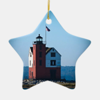 Round Island Lighthouse Double-Sided Star Ceramic Christmas Ornament