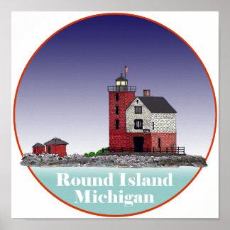 Round Island Lighthouse Poster