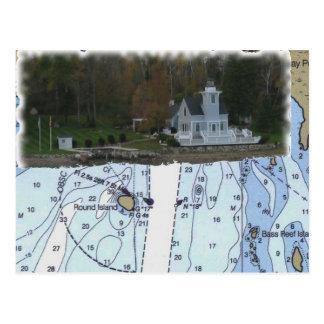 Round Island Lighthouse St Marys River MI Chart Postcards