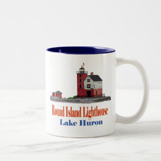 Round Island Lighthouse Two-Tone Coffee Mug