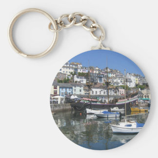 Round Key Ring With Brixham Harbour Picture