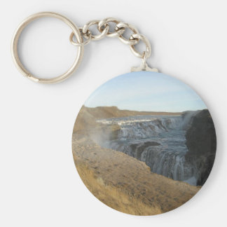 Round Key Ring With Gullfoss Waterfall Picture
