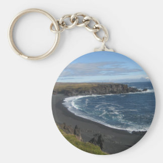 Round Key Ring With Icelandic Beach Picture Keychain